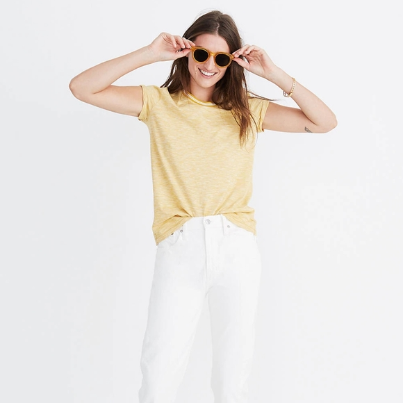 Madewell Cotton Ringer Tee in Stripes Yellow XS